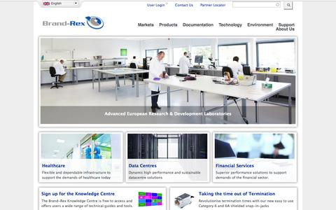 Screenshot of Home Page brand-rex.com - Brand-Rex - Network Infrastructure Cabling Systems - captured Jan. 28, 2015
