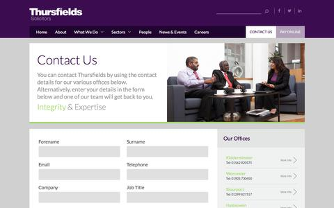 Screenshot of Contact Page thursfields.co.uk - Contact Us | Thursfields Solicitors - captured Oct. 25, 2017