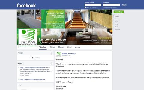 Screenshot of Facebook Page facebook.com - Bamboo Warehouse - Cape Town, Western Cape - Engineering/Construction | Facebook - captured Oct. 25, 2014