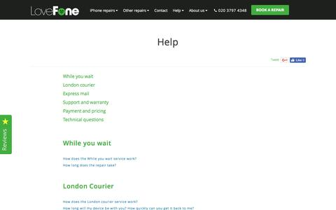 Screenshot of FAQ Page lovefone.co.uk - Help - Lovefone, London - captured July 17, 2016