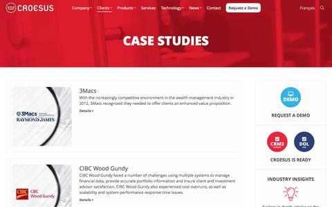 Screenshot of Case Studies Page croesus.com - Explore Case Studies | Croesus - captured May 23, 2017