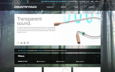 Screenshot of Products Page countryman.com - Products  | Countryman Associates, Inc. - captured Oct. 3, 2014