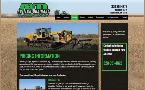 Screenshot of Pricing Page agtechdrainage.com - Ag Tech Drainage Prices | Sauk Centre, MN - captured Oct. 29, 2014