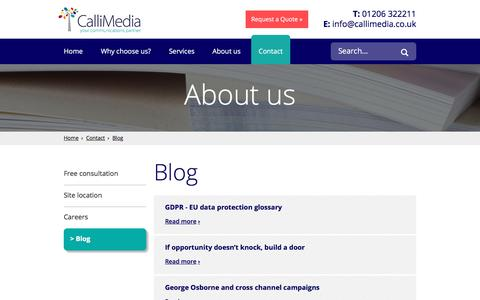 Screenshot of Blog callimedia.co.uk - Blog - captured July 12, 2017