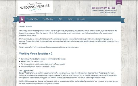 Screenshot of Jobs Page wedding-venues.co.uk - Careers: Country House Wedding Venues - captured Sept. 25, 2014