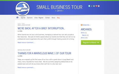 Screenshot of Blog thesmallbusinesstour.com - Blog - Grow Your Small Business - captured Oct. 26, 2014