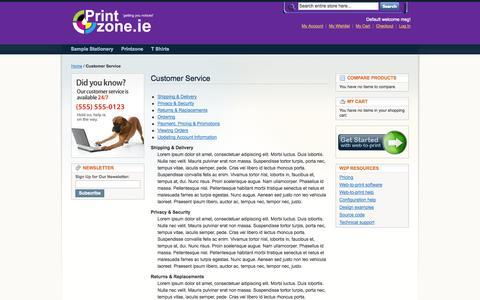 Screenshot of Support Page customprint.ie - Customer Service - captured Sept. 30, 2014