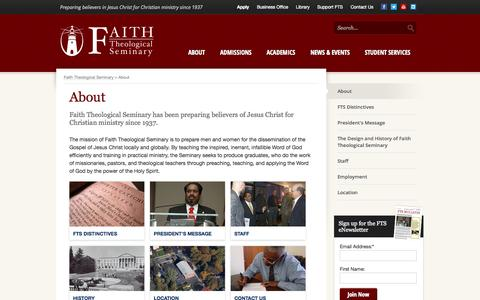 Screenshot of About Page faiththeological.org - About - Faith Theological Seminary - captured Oct. 6, 2014