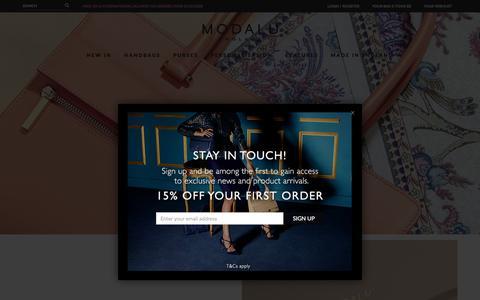 Screenshot of Home Page modalu.com - Modalu England | Official Online Store | Designer Leather Handbags and Purses - captured Nov. 16, 2015