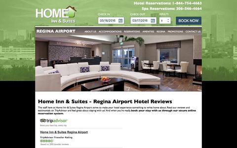 Screenshot of Testimonials Page homeinnreginaairport.ca - Reviews | Home Inn & Suites Regina Airport Hotel - captured March 16, 2016
