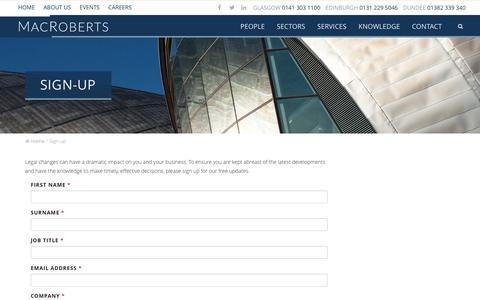 Screenshot of Signup Page macroberts.com - Sign-up - MacRoberts LLP - captured July 21, 2016