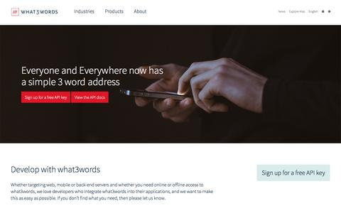 Screenshot of Developers Page what3words.com - Developers | what3words - captured March 23, 2017