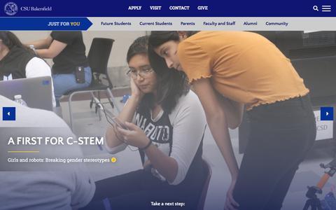Screenshot of Home Page csub.edu - Home | California State University, Bakersfield - captured Aug. 18, 2019