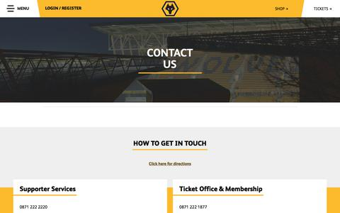 Screenshot of Contact Page wolves.co.uk -   Wolverhampton Wanderers FC - captured Oct. 25, 2017