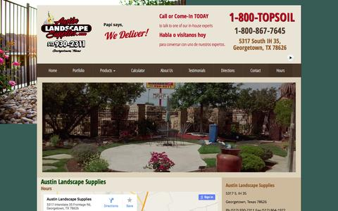 Screenshot of Hours Page austinlandscapesupplies.com - Austin Landscape Supplies Map   Find Landscape Supplies Austin - captured March 16, 2016