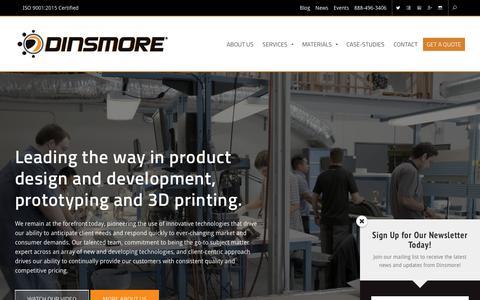 Screenshot of Home Page dinsmoreinc.com - Dinsmore Inc | 3D Printing, Product Design, Development and more! - captured April 16, 2018