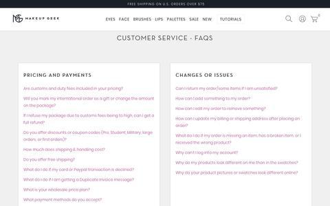 Screenshot of FAQ Page makeupgeek.com - Customer Service - FAQs - Makeup Geek - captured April 4, 2018