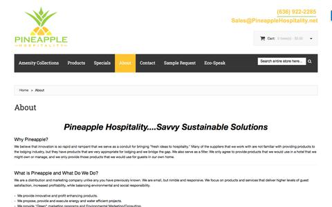 Screenshot of About Page pineapplehospitality.net - Get to Know Pineapple Hospitality - eco-friendly-economical amenities for hotels, spas, & hospitality. - captured July 18, 2018