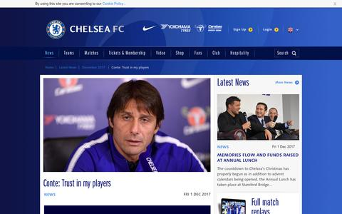 Screenshot of chelseafc.com - Conte: Trust in my players | News | Official Site | Chelsea Football Club - captured Dec. 2, 2017
