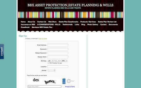 Screenshot of Signup Page bbxestateplanning.com - Signup - BBX ASSET PROTECTION,ESTATE PLANNING & WILLS - captured Oct. 26, 2014