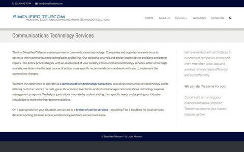 Screenshot of Services Page simplifiedtele.com - Your partner in telecom services. St. Louis Telecom Services. - captured Nov. 19, 2016