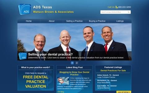 Screenshot of Home Page adstexas.com - ADS Texas | Dental Practice Appraisals | Practices for Sale Dallas Fort Worth Houston Texas | Dental Practice Broker - captured Oct. 4, 2014