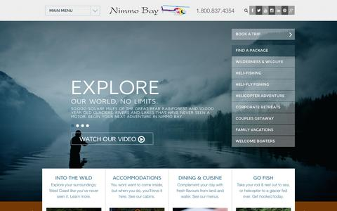 Screenshot of Home Page nimmobay.com - Luxury Travel Accommodations All Inclusive Resort BC Canada - captured Oct. 6, 2014