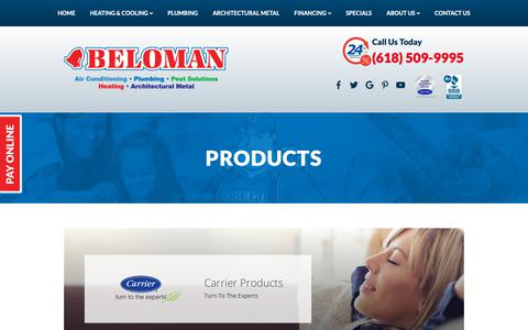 Screenshot of Products Page beloman.com - HVAC Products   Belleville IL   BELOMAN Heating and Cooling - captured Oct. 5, 2018