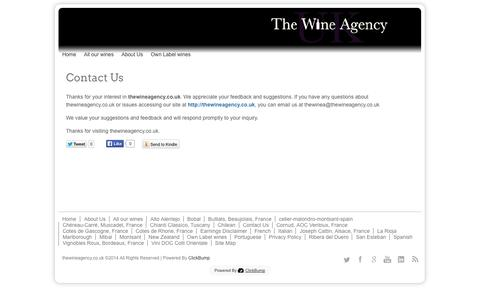 Screenshot of Contact Page thewineagency.co.uk - Contact Us - captured Oct. 22, 2014