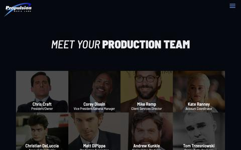 Screenshot of Team Page promedialabs.com - Production Team | Propulsion Media Labs - captured Sept. 30, 2018