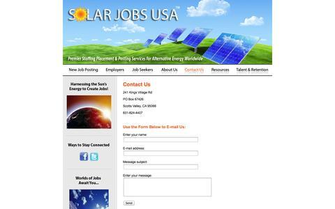Screenshot of Contact Page solarjobsusa.com - Solar Jobs USA :: Contact Us - captured Oct. 26, 2014