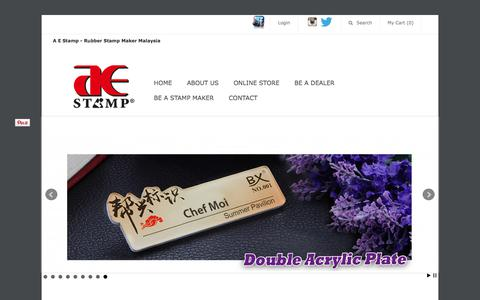 Screenshot of Home Page aestamp.com - Rubber Stamp Maker | Rubber Stamping Malaysia : A E Stamp - captured July 20, 2017
