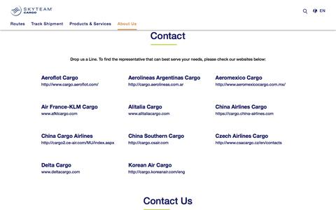 Screenshot of Contact Page skyteam.com - Cargo Contact us - captured Sept. 22, 2018
