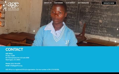 Screenshot of Contact Page ageafrica.org - Contact – AGE Africa - captured July 6, 2017