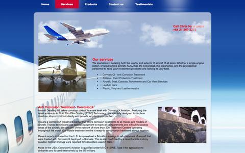 Screenshot of Services Page adnz.co.nz - Services - Aircraft Detailing New Zealand - captured Oct. 4, 2014