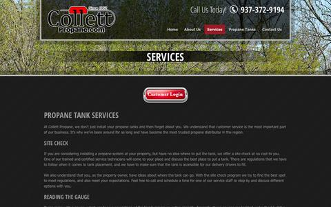 Screenshot of Services Page collettpropane.com - Propane tank services in Lebanon, OH | Collett Propane - captured Oct. 3, 2014