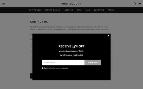 Screenshot of Contact Page phatbuddhawear.com - CONTACT US – PHAT BUDDHA - captured Nov. 4, 2018