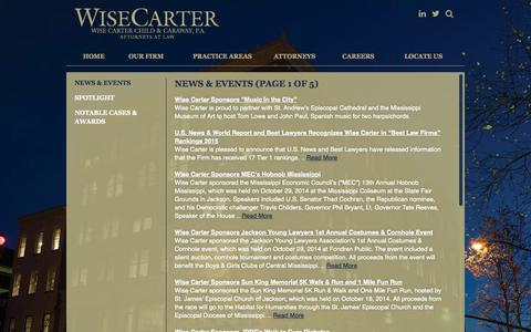 Screenshot of Press Page wisecarter.com - Wise Carter - News & Events (Page 1 of 5) - captured Nov. 4, 2014