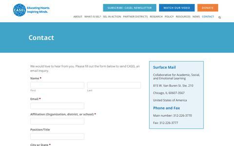 Screenshot of Contact Page casel.org - Contact - captured Sept. 29, 2018