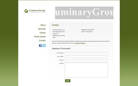 Screenshot of Contact Page luminarygroup.com - Contact - Luminary Group - captured Oct. 3, 2014