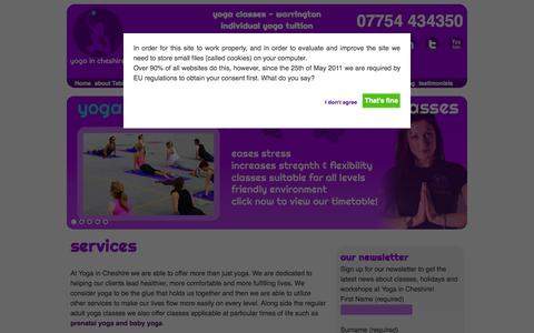 Screenshot of Services Page yogaincheshire.com - Yoga in Cheshire, Warrington - captured Oct. 9, 2014