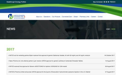 Screenshot of Press Page natcopharma.ca - Natco Pharma (Canada) Inc - captured Nov. 3, 2017