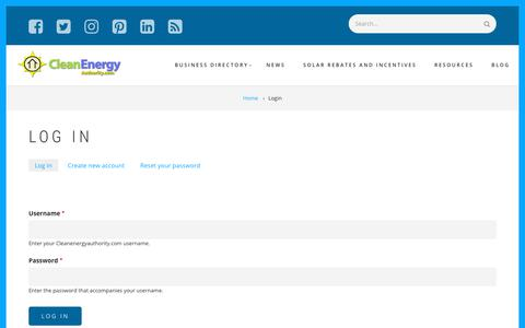 Screenshot of Login Page cleanenergyauthority.com - Log in | Cleanenergyauthority.com - captured Sept. 23, 2018