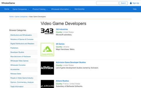 Screenshot of Developers Page wholesgame.com - Video Game Developers - WholesGame - captured June 13, 2017