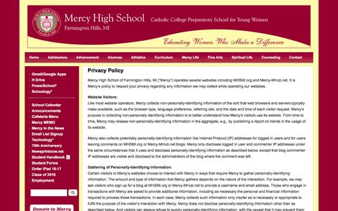Screenshot of Privacy Page mhsmi.org - Privacy Policy | Mercy High School - captured May 31, 2016