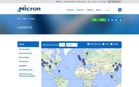 Screenshot of Locations Page micron.com - Micron Technology, Inc. - Locations - captured Nov. 17, 2015