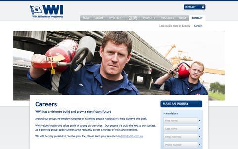 Screenshot of Jobs Page wilh.com.au - Wilhelmsen Investments - Careers - captured Oct. 7, 2014