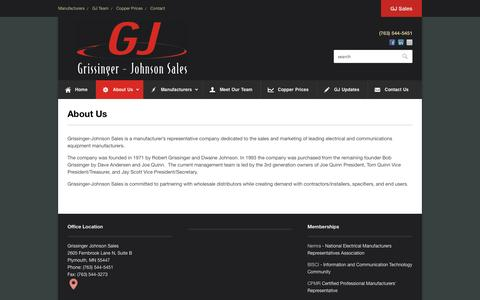 Screenshot of About Page gjsales.com - About Us - - captured Oct. 3, 2014