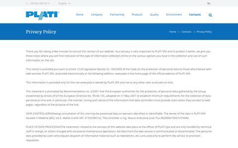 Screenshot of Privacy Page plati.it - Privacy Policy - Plati Spa - captured Nov. 1, 2014