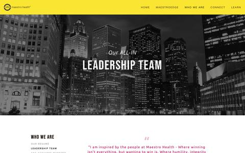 Screenshot of Team Page maestrohealth.com - Leadership Team — Maestro Health - captured Feb. 18, 2019